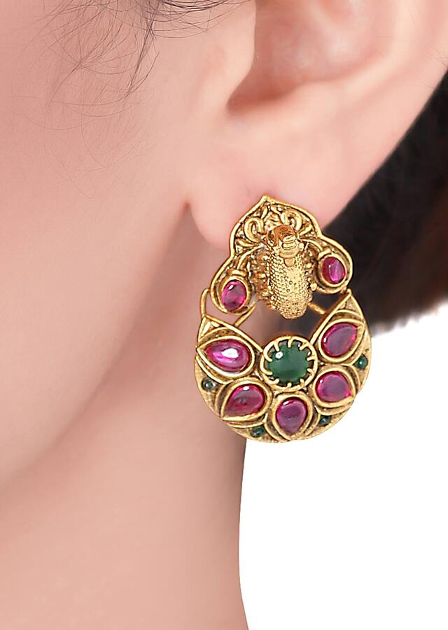 Gold Plated Earrings Studded With Rubies And Emeralds In Floral Design Online - Joules By Radhika