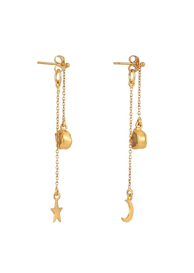 Gold Plated Earrings With A Rough Green Chalcedony And Dangling Moon And Star By Zariin