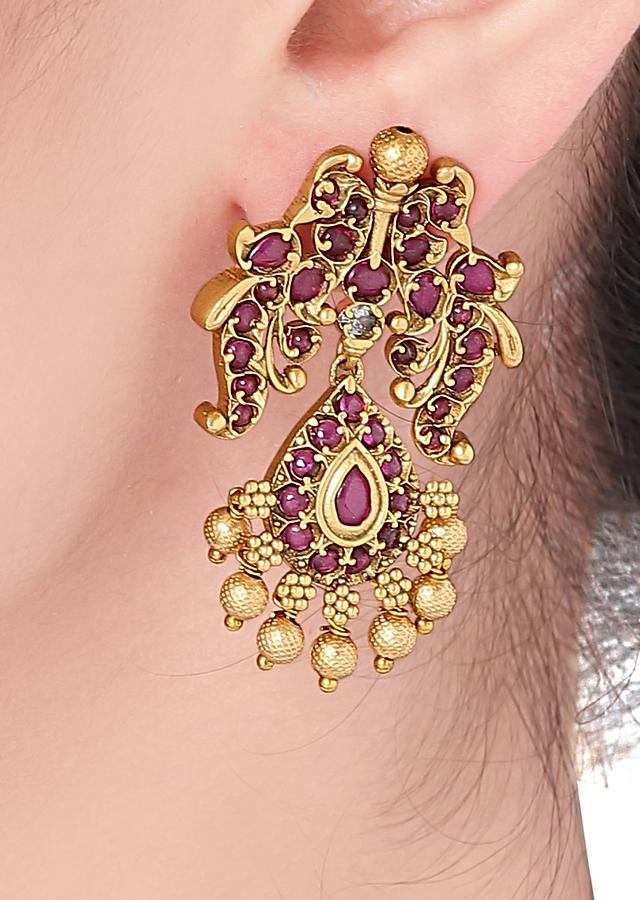 Gold Plated Earrings With Antique Design Adorned With Rubies And Pearls Online - Joules By Radhika