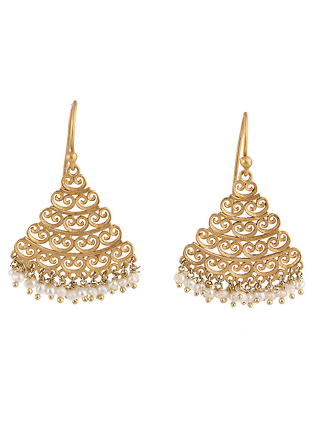 Gold Plated Earrings With Beautiful Triangular Filigree Motifs And Pearl Beads By Zariin