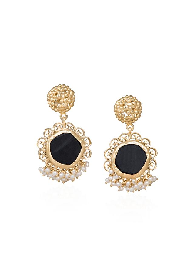 Gold Plated Earrings With Black Onyx And Tiny Bits Of Pearls By Zariin