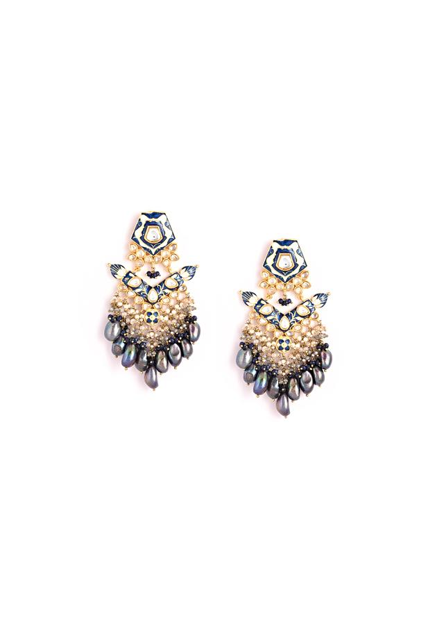 Gold Plated Earrings With Blue Enamelling And Kundan Detailing Along With Dangling Blue Baroque Pearls And Beads By Kohar