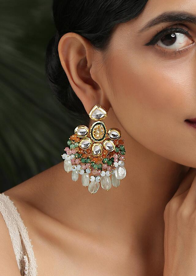 Gold Plated Earrings With Dangling Multi Colored Bead Fringes And Kundan Encrusted In Floral Design By Paisley Pop