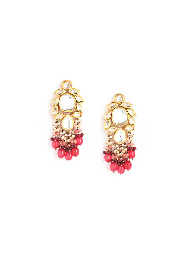 Gold Plated Earrings With Elaborate Kundan Work Along With Rani Pink Ombre Bead Fringes By Kohar