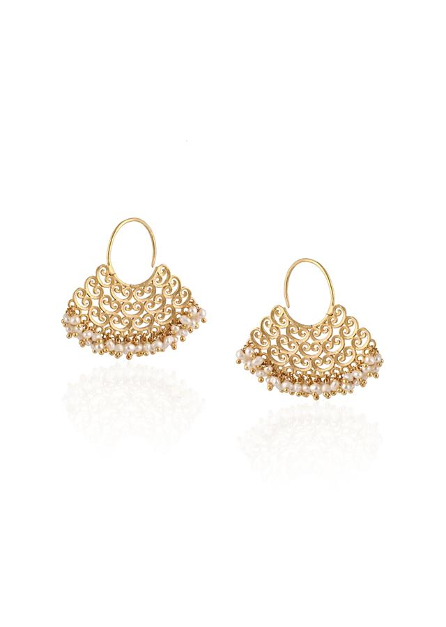 Gold Plated Earrings With Filigree Design Lined In Pearls By Zariin