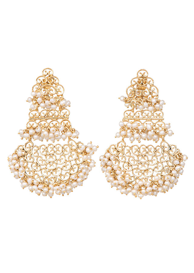 Gold Plated Earrings With Frills Of Pearls And Carved Filigree Detailing By Zariin