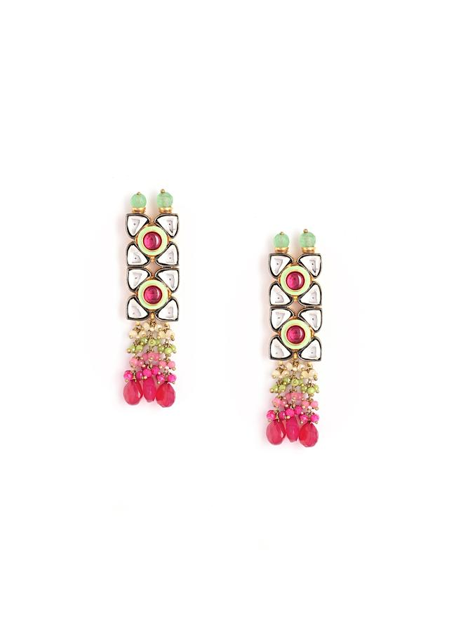 Gold Plated Earrings With Kundan And Semi Precious Pink Stones Along With Green Bead Detailing By Kohar