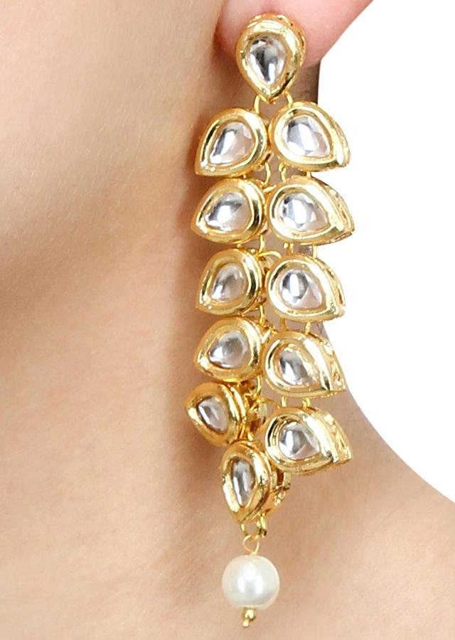 Gold Plated Earrings With Kundan In Leaf Drop Shape And Pearl Accent Online - Kalki Fashion