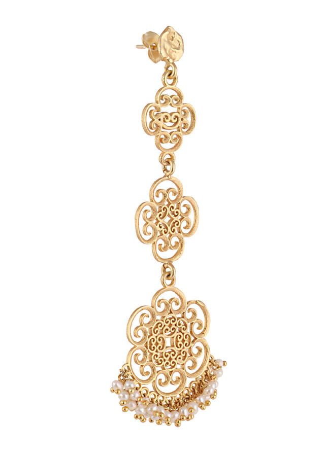 Gold Plated Earrings With Pearls And Layered Filigree Motifs  By Zariin