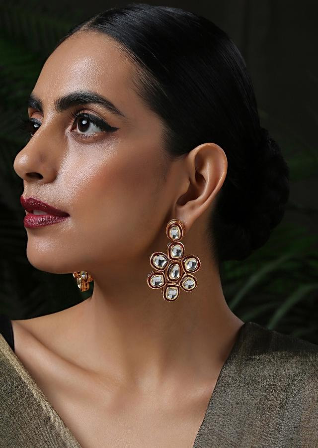 Gold Plated Earrings With Red Meenakari And Encrusted With Kundan In Floral Motif By Paisley Pop