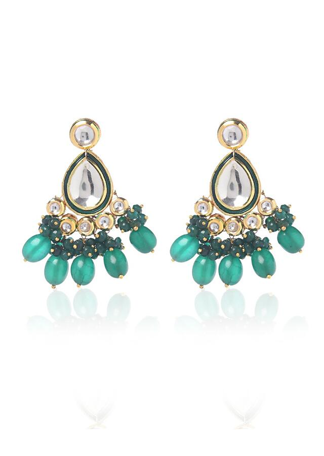 Gold Plated Earrings With Uncut Kundan Polki And Emerald Green Stones By Paisley Pop