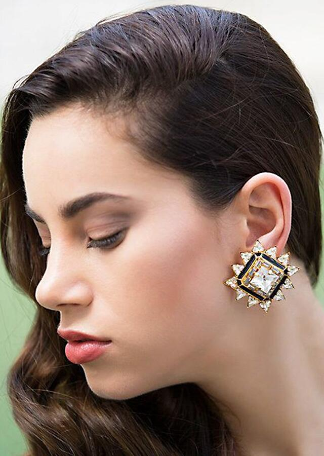 Gold Plated Edgy Studs With Stones In Geometric Star Design By Prerto