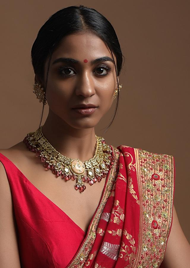 Gold Plated Ethnic Choker With Kundan Flowers And Dangling Red Beads Kohar By Kanika