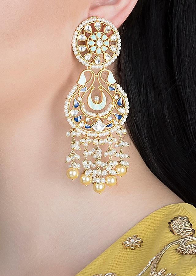 Gold Plated Ethnic Earrings With Dark Blue And Turquoise Enamelling, Kundan And Pearls By Aster