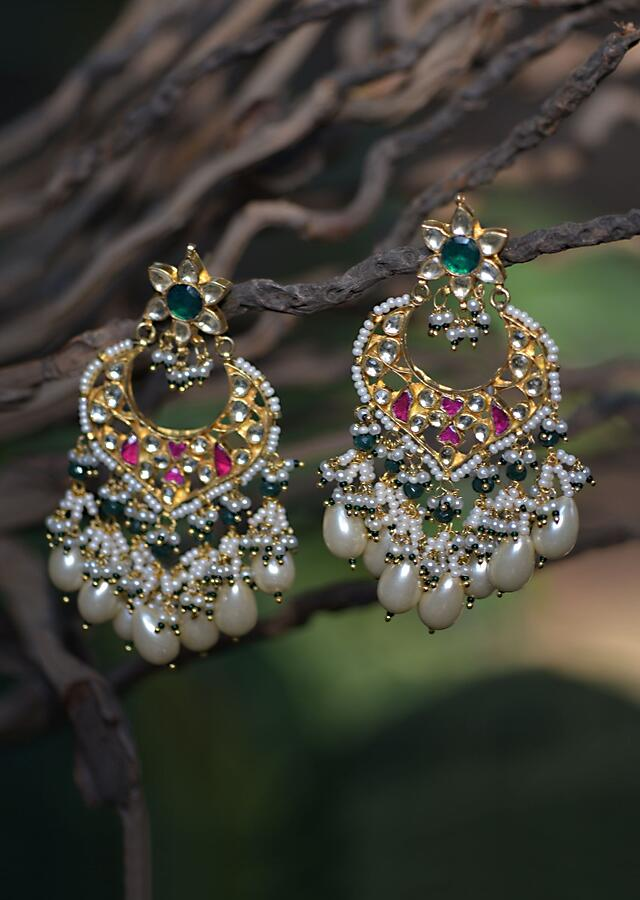 Gold Plated Ethnic Earrings With Emerald Green And Magenta Stones And Dangling Pearls And Beads Kohar By Kanika