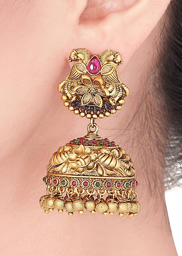 Gold Plated Ethnic Jhumkas With Rubies And Emeralds Online - Joules By Radhika