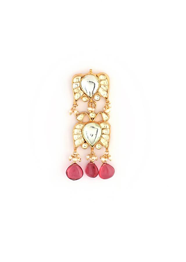 Gold Plated Ethnic Necklace And Earrings With Kundan And Moti Detailing Along With Dangling Wine Drops By Kohar