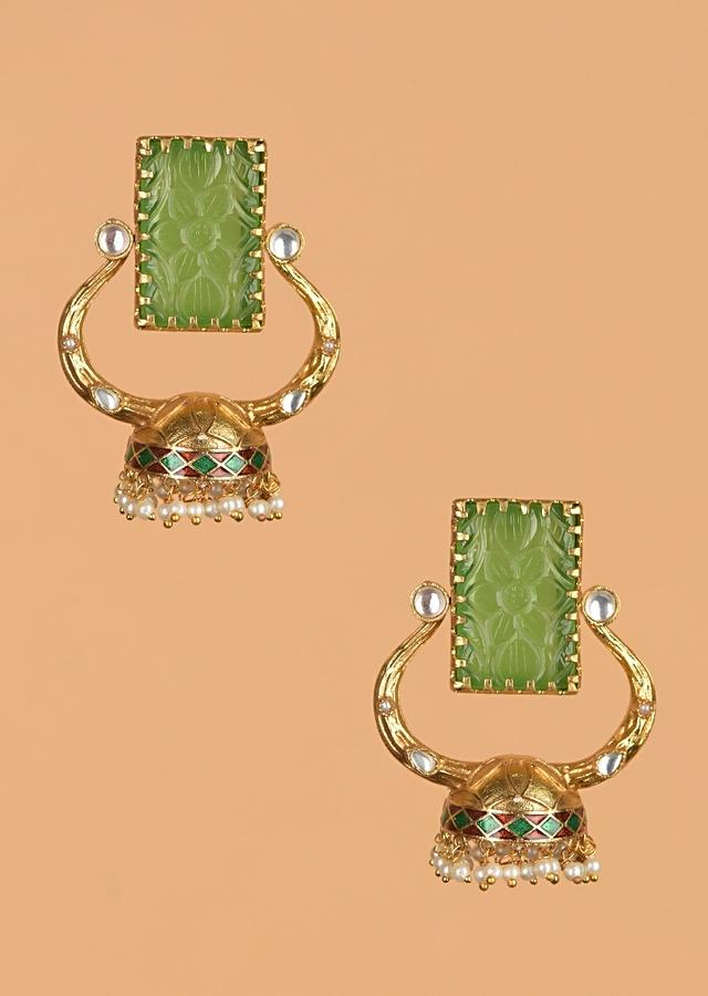 Gold Plated Fancy Jhumkas With Floral Carved Green Stone And Pearls Online - Kalki Fashion