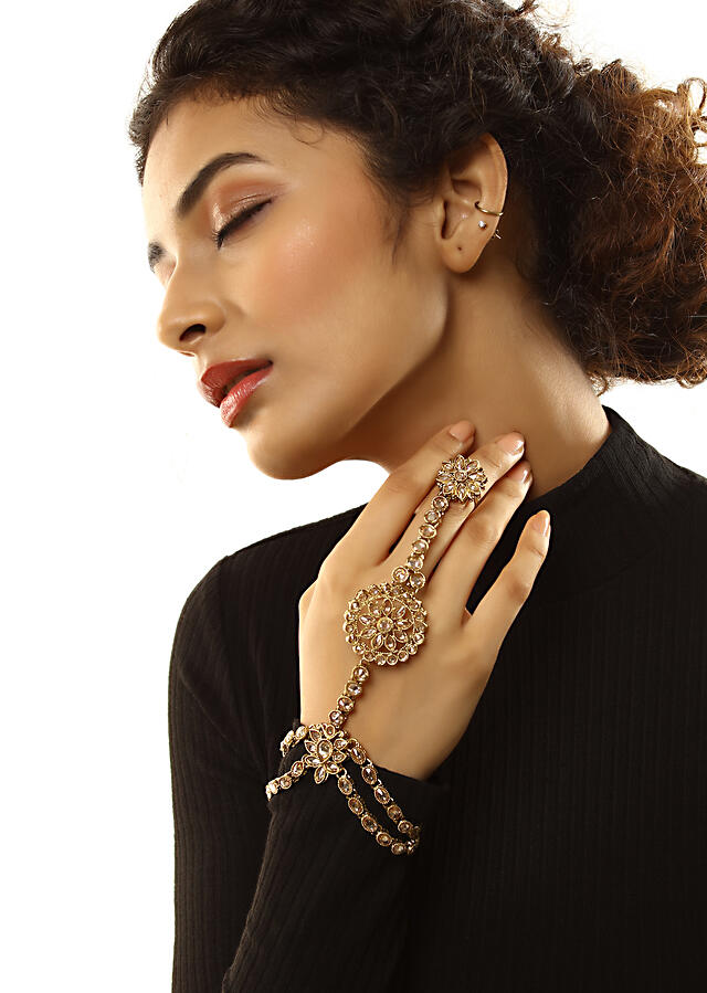 Gold Plated Hand Harness With Pale Wheat Crystals Embellished In Floral Motifs By Kohar