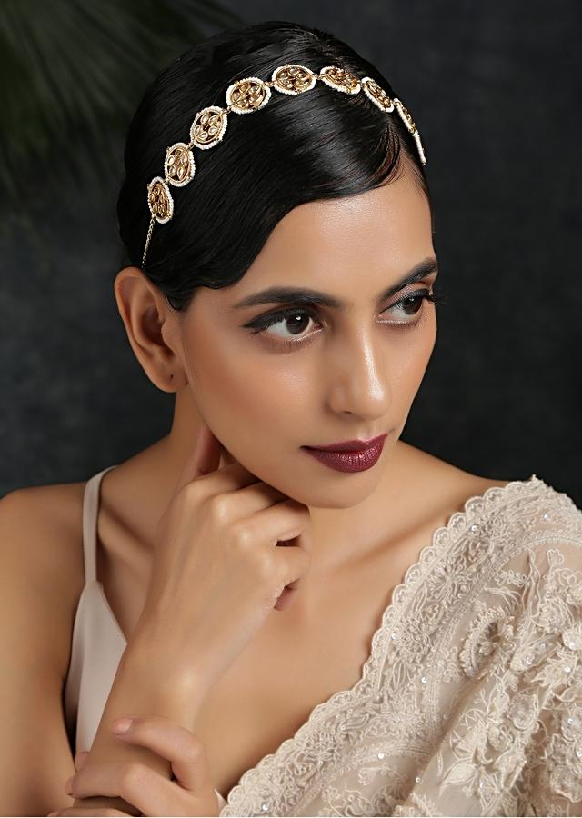 Gold Plated Head Band With Timeless Victorian Polki Edged With Moti Detailing By Paisley Pop