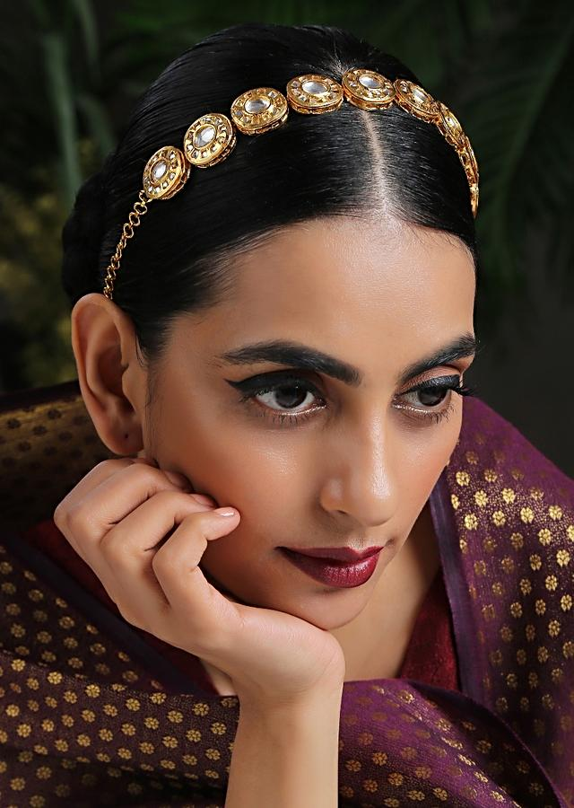 Gold Plated Headband Encrusted With Kundan In A Timeless Classic Look By Paisley Pop