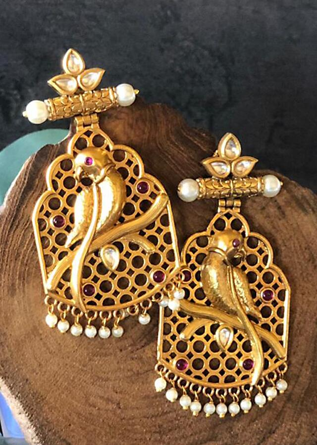 Gold Plated Jaali Earrings In Parrot Design With Kundan And Dangling Pearls Online - By Kripa Pranay
