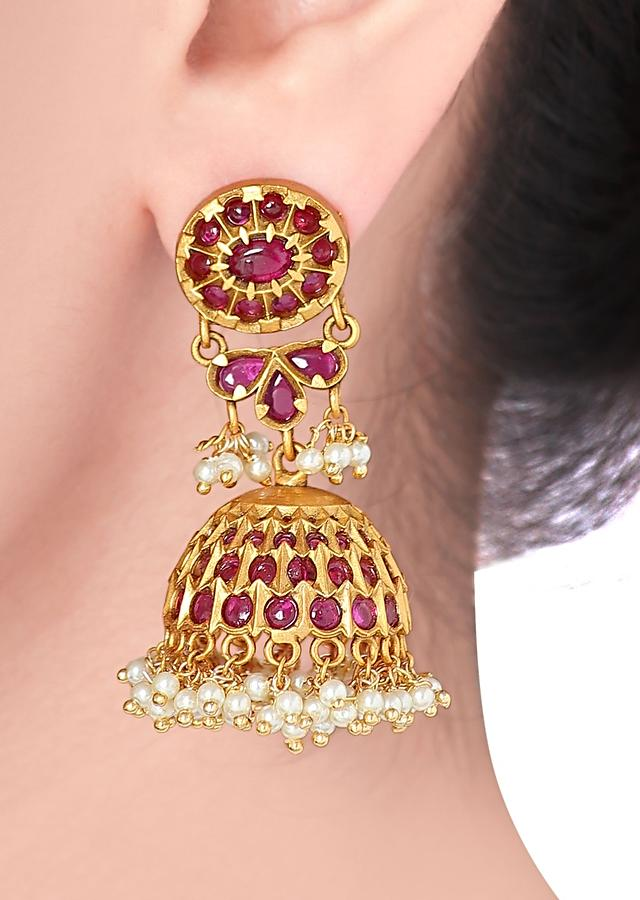 Gold Plated Jhumkas Studded With Rubies And Dangling Pearls Online - Joules By Radhika