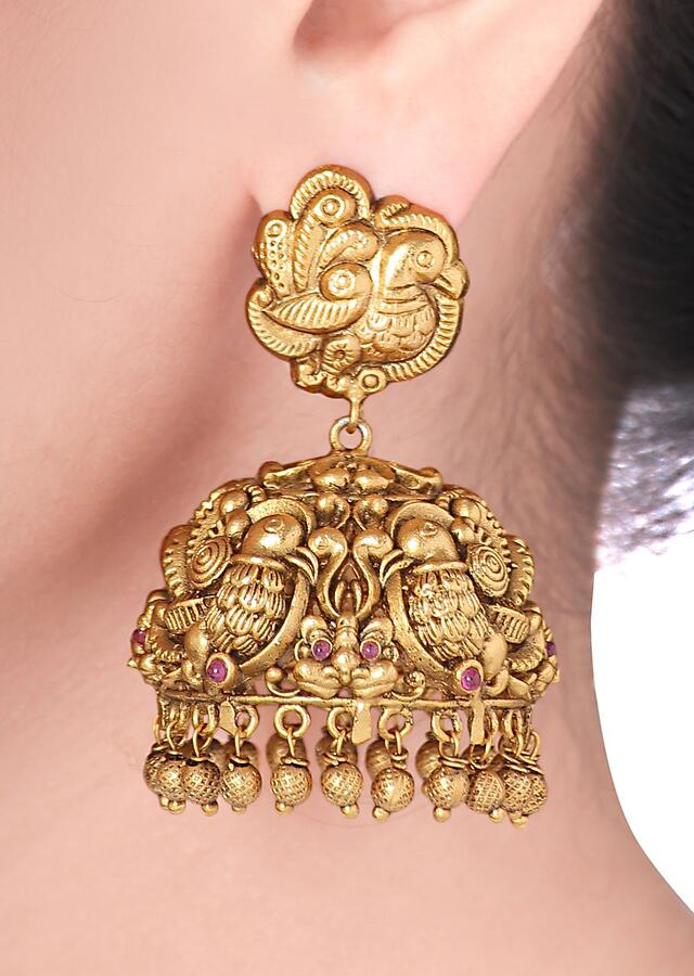 Gold Plated Jhumkas With Antique Carved Temple Design And Dangling Beads Online - Joules By Radhika