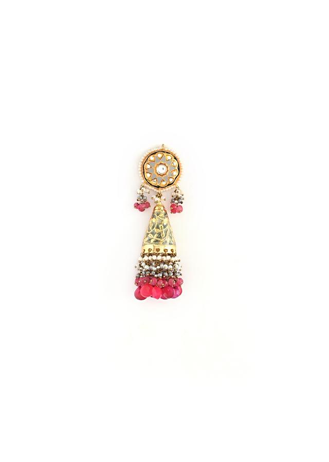 Gold Plated Jhumkas With Carved Grey Enamelling And Kundan Work Along With Dangling Grey And Pink Drops By Kohar