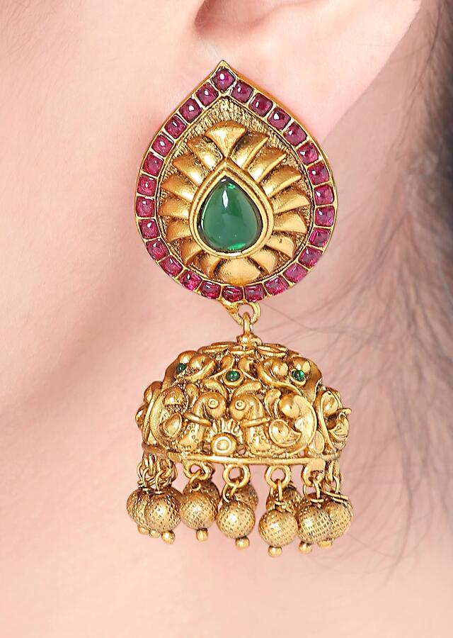 Gold Plated Jhumkas With Carved Leaf Design Studded With Rubies And Emeralds Online - Joules By Radhika