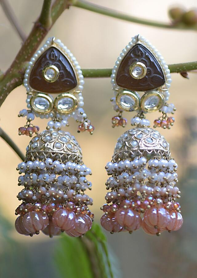 Gold Plated Jhumkas With Carved Stone And Studded With Kundan And Pearls Along With Bead Fringes Kohar By Kanika