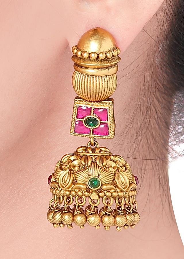 Gold Plated Jhumkas With Floral Carving, Multicolour Stones And Dangling Beads  Online - Joules By Radhika