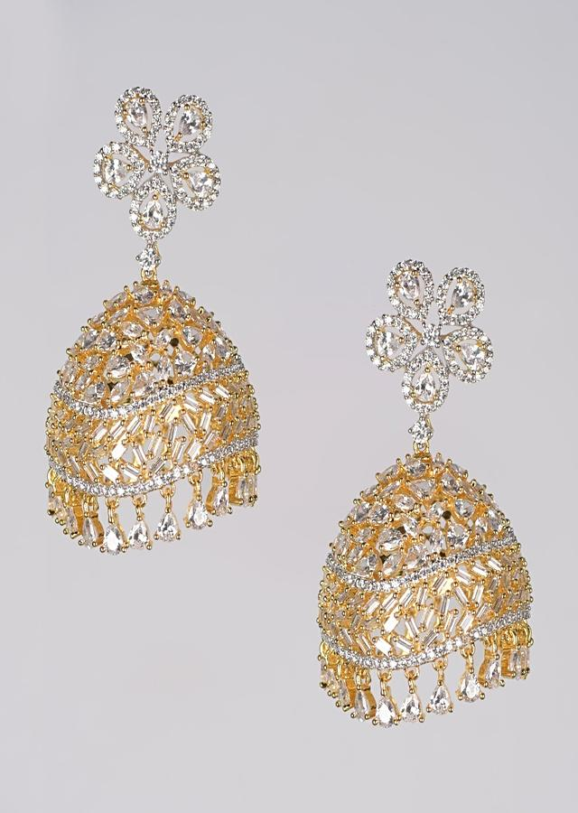 Gold Plated Jhumkas With Floral Stud And Stones, Crystals And Bugle Beads In Wave Pattern Online - Kalki Fashion