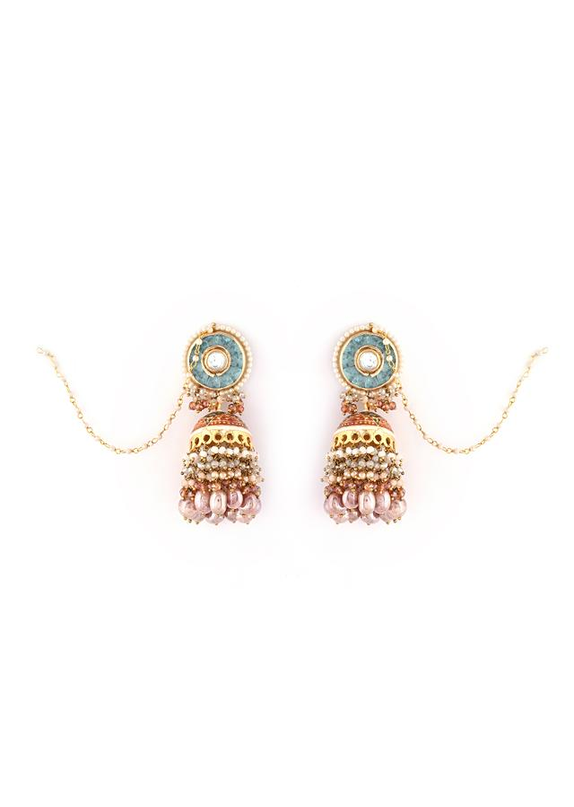Gold Plated Jhumkas With Grey And Coral Enamelling Along With Aqua Blue Semi Precious Stones And Bead Fringes By Kohar