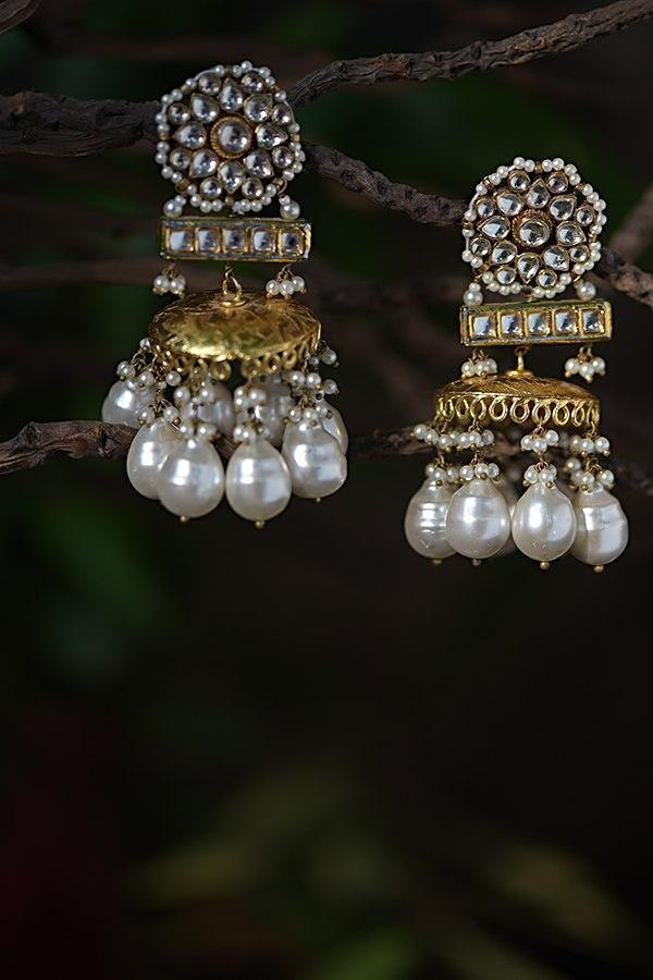 Gold Plated Jhumkas With Kundan Adorned Floral Motif And Dangling Pearls Kohar By Kanika