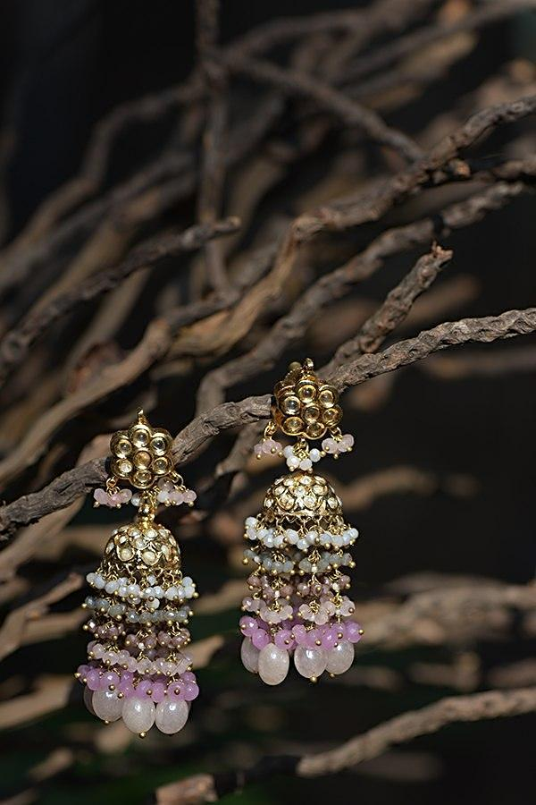 Gold Plated Jhumkas With Kundan Studded Floral Motif And Pink Bead Fringes Kohar By Kanika