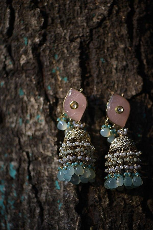 Gold Plated Jhumkas With Pink Carved Stone And Dangling Pearl And Colorful Bead Fringes Kohar By Kanika