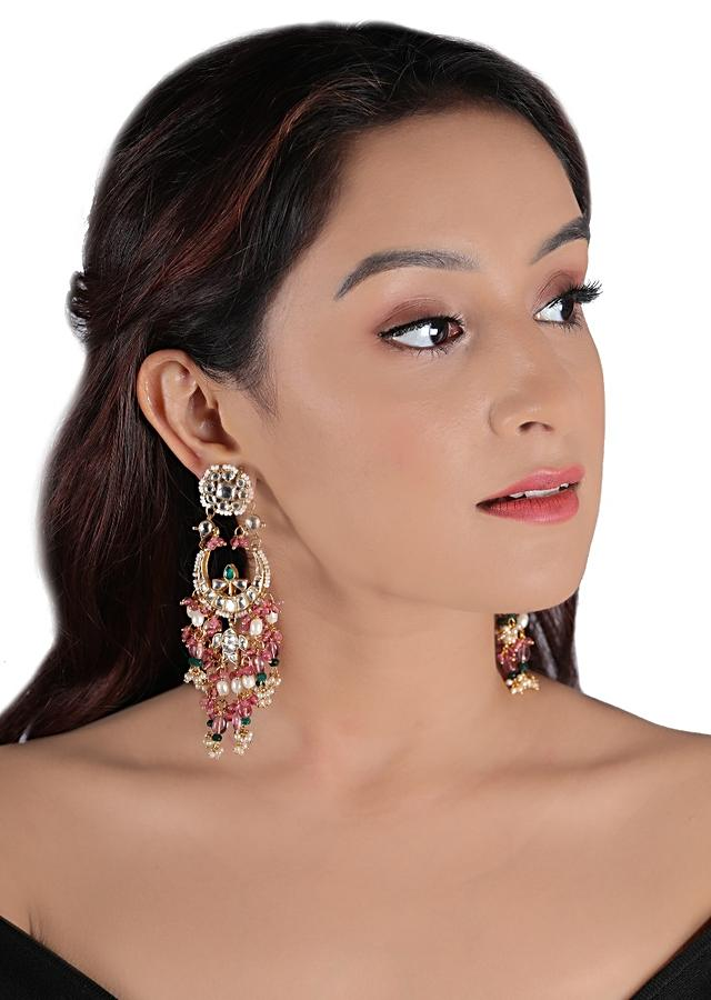 Gold Plated Kundan Chandbalis With Dangling Green And Light Pink Beads By Riana Jewellery