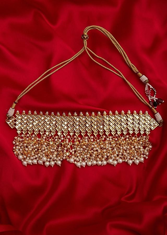 Gold Plated Kundan Choker Necklace With Pearl Highlights Online - Kalki Fashion