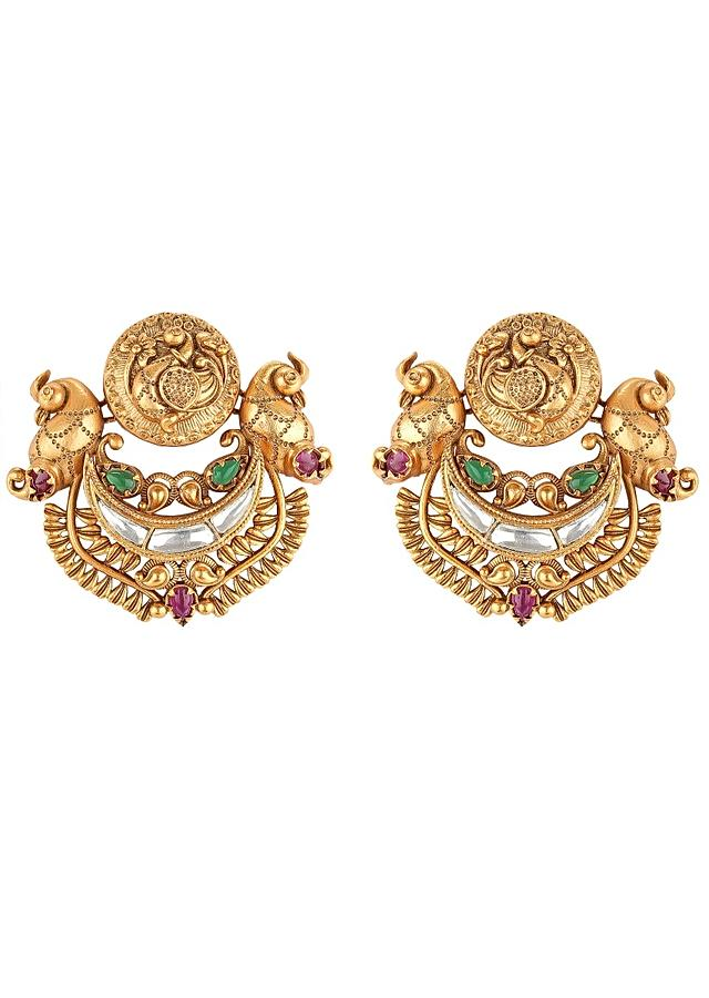 Gold Plated Kundan Earring With Carved Ethnic Design Embedded With Stones  Online - Joules By Radhika