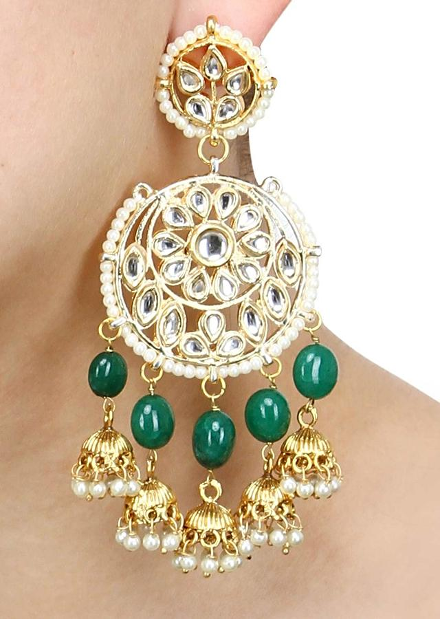 Gold Plated Kundan Earrings In Floral Round Design With Green Beads, Pearls And Nano Jhumkas Online - Kalki Fashion
