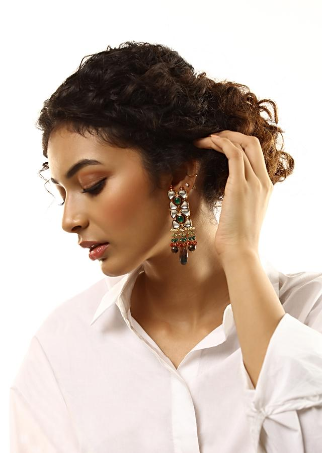 Gold Plated Kundan Earrings With Green Stone And Dangling Brown And Black Semi Precious Drops By Kohar