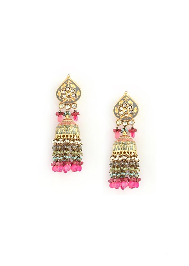 Gold Plated Kundan Jhumkas With Grey Enamelling, Moti And Dangling Multicolored Beads And Pink Stones By Kohar