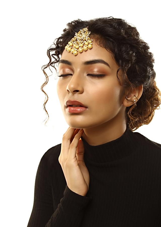 Gold Plated Kundan Mang Tika In Crescent Motifs With Dangling Yellow And White Pearl Fringes By Kohar