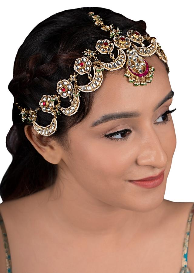 Gold Plated Kundan Mathapatti In Chand And Floral Motifs With Pink And Red Stone By Riana Jewellery