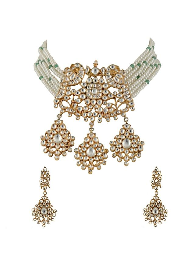 Gold Plated Kundan Necklace And Earrings With Peacock Pendant And Moti Strings By Riana Jewellery