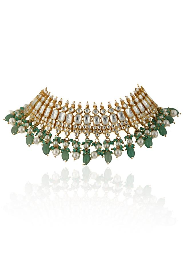 Gold Plated Kundan Necklace And Jhumka Set With Light Green Beads And Moti By Riana Jewellery