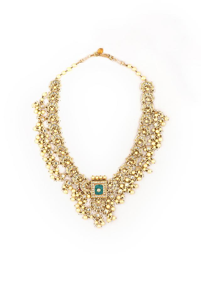 Gold Plated Kundan Necklace And Mangtika Set With Green Carved Stone Pendant And Edged With Yellow And White Pearls By Kohar
