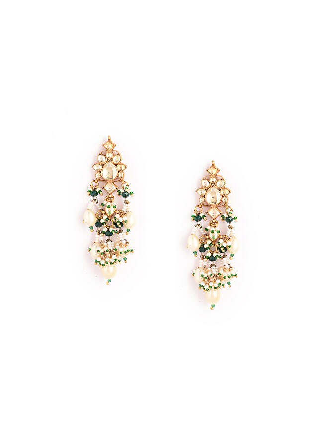 Gold Plated Kundan Necklace And Earrings Set In Floral Motifs Featuring White And Green Bead Fringes With Pearl Drops By Kohar