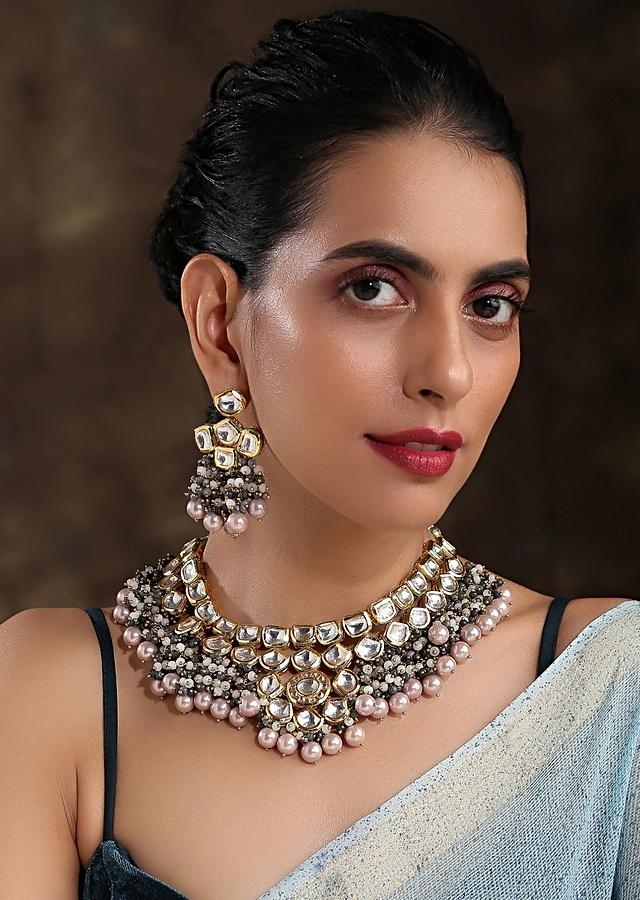 Gold Plated Kundan Necklace Set Handcrafted With Dangling Pearls And Grey Bead Fringes By Paisley Pop